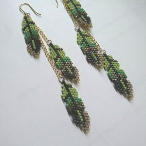 Forrest Green and Brown Feather Dangle Earrings
